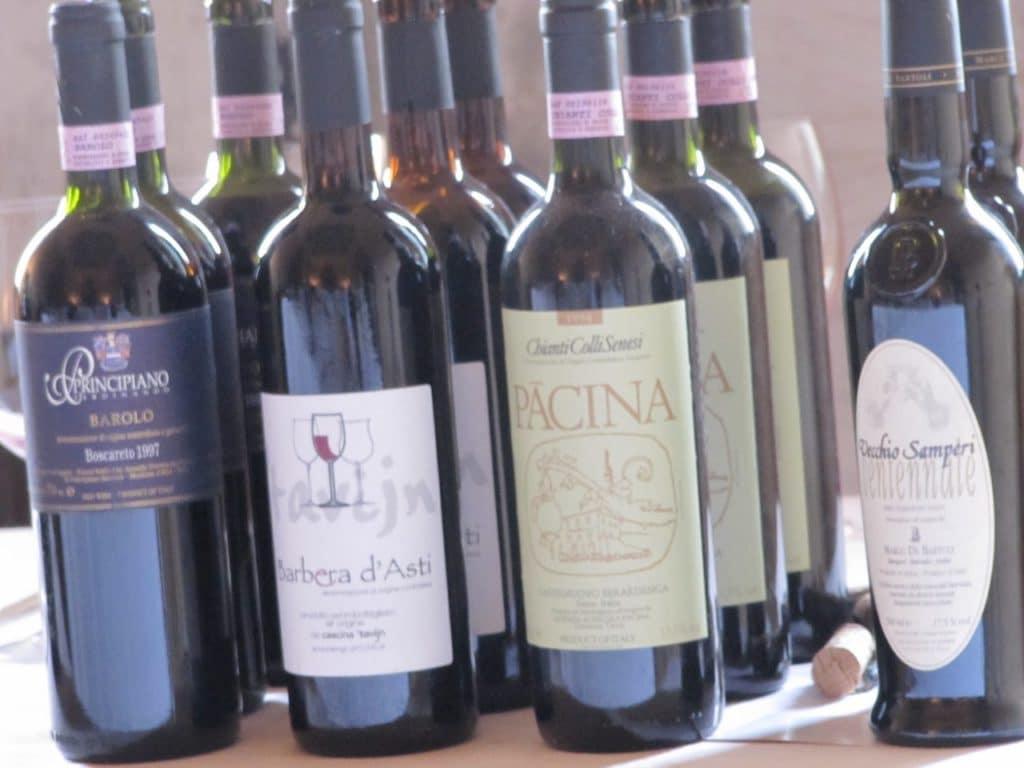 Alcuni vini in degustazione